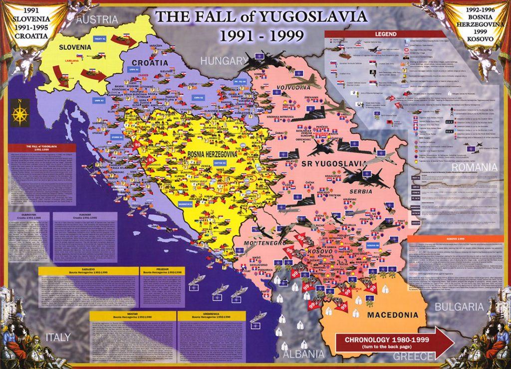 Mapa raspada Jugoslavije Suade Kapić, uramljena iza Borkinog stola