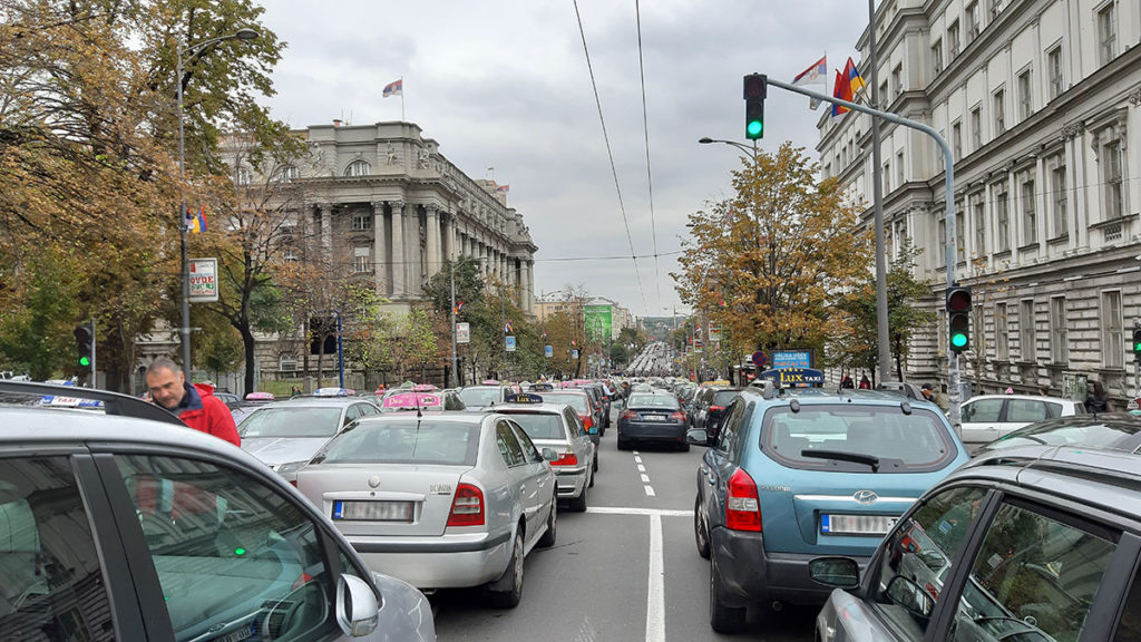 Taksisti u Kneza Miloša 3.10.2019, foto: Peščanik