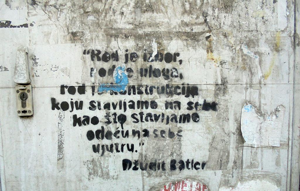 Citat Džudit Batler na zidu