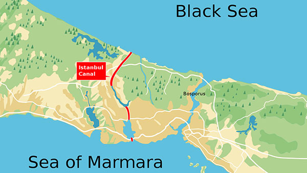 Kanal Istanbul, mapa: Randam, Wikipedia