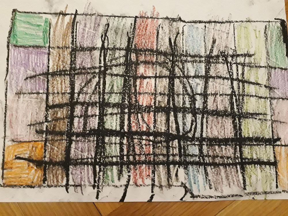 Karantin, crtež, Mila, 5 godina