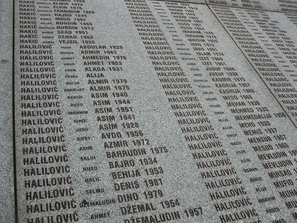Srebrenica memorial in Potocari with names of Halilović family