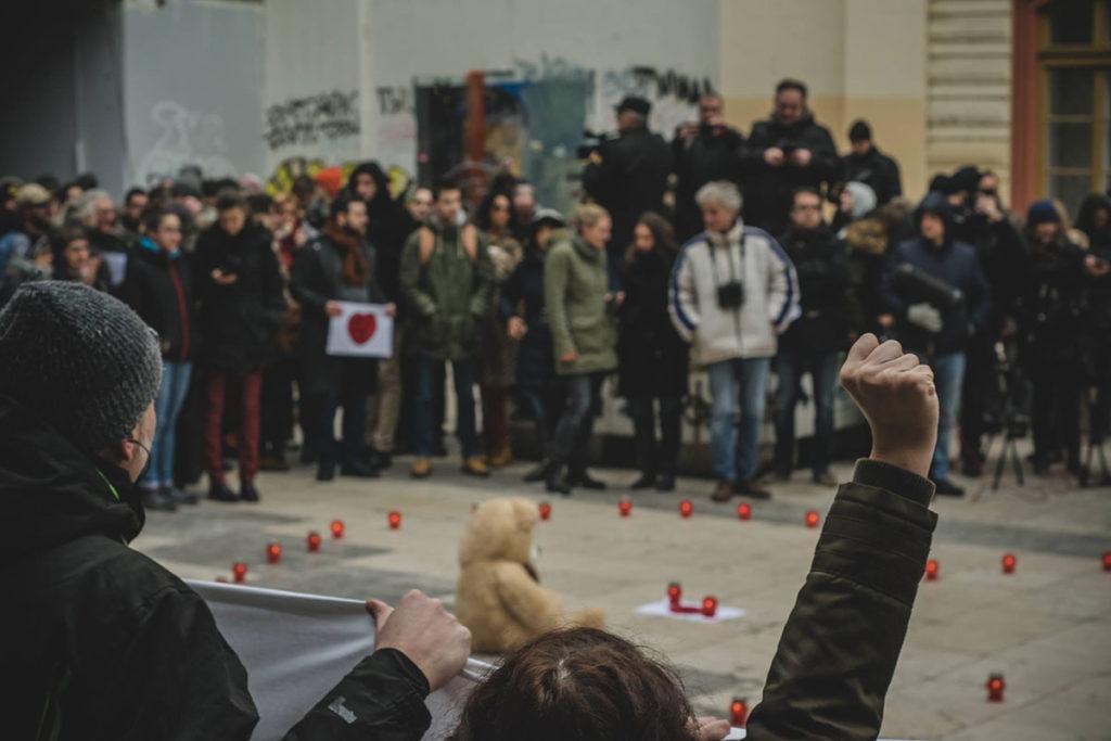 Sa skupa podrške grupi Pravda za Davida 2018, foto: Damjan Dobrila, NDBGD