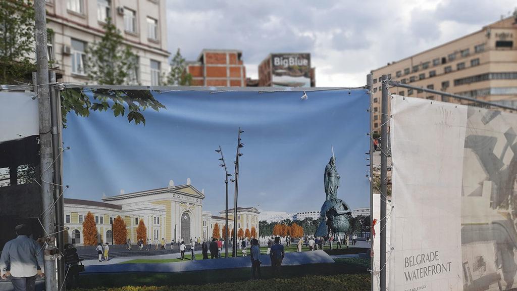 Pano na kojem je naslikan spomenik ispred bivše glavne železničke stanice