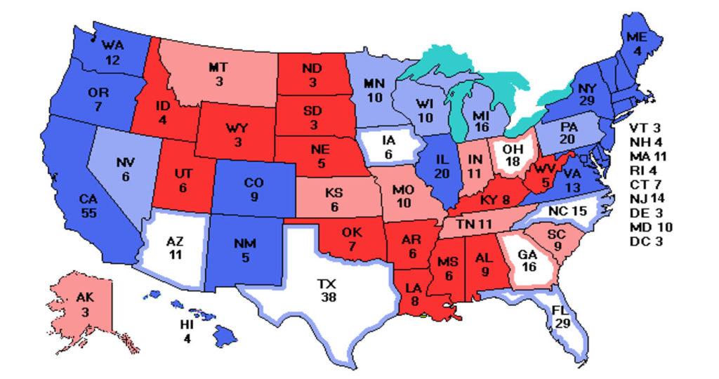 Broj elektorskih glasova po saveznim državama. Procjena na ovoj karti daje Bidenu 217 sigurnih i 62 vjerojatna elektorska glasa. To je dovoljno za pobjedu ali je tijesno.