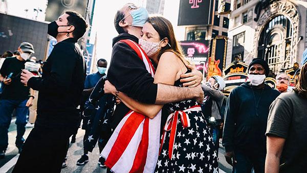 Proslava Bidenove pobede, Times Square