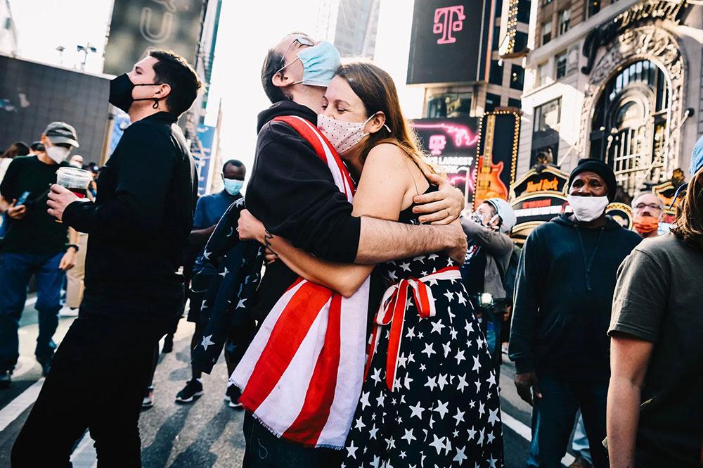 Proslava Bidenove pobede, Times Square, foto: Nina Westervelt/REX/Shutterstock