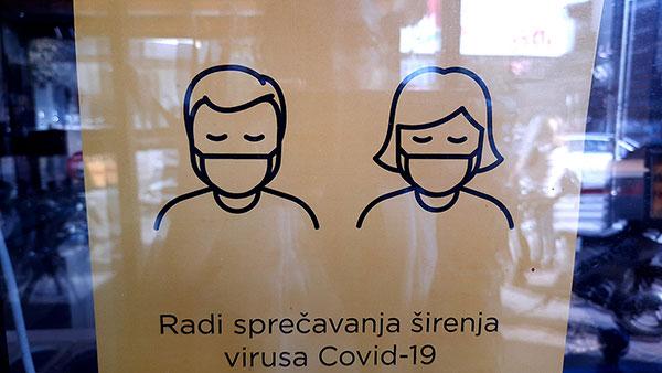 Plakat na kojem piše: Radi sprečavanja širenja virusa Covid-19