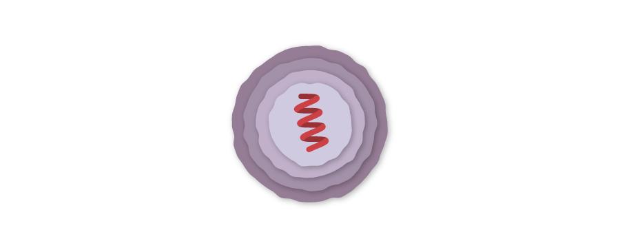 """Slika 2. """"Mjehurić"""" od lipida, organske tvari slične ulju, u koji je """"zapakiran"""" dijelić RNK virusa s informacijom za proizvodnju """"bodlji""""."""