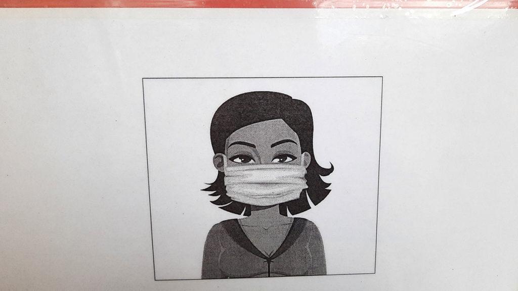 crtež - žena sa maskom na licu