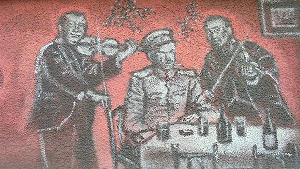 nacrtani svirači u kafani