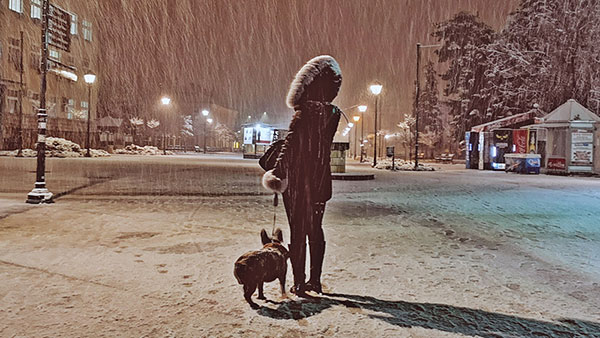žena sa psom na snegu