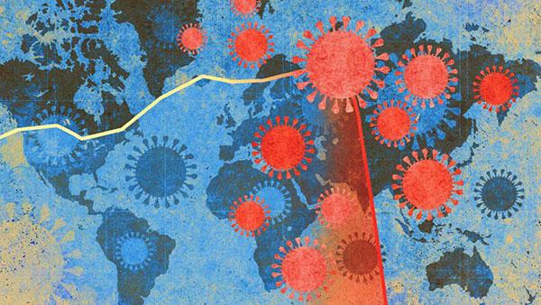 Ilustracija - širenje korona virusa po svetu