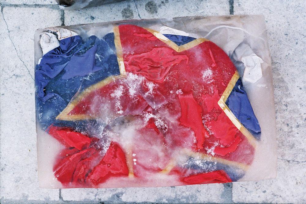 Akcija Kunstlager, Novi Sad, Led art, 29.2.2000, foto: Srđan Veljović