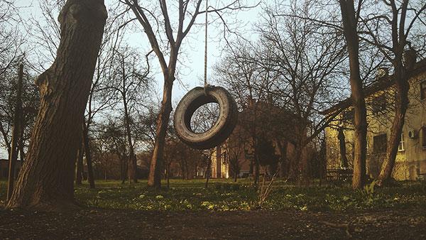 auto-guma okačena o drvo